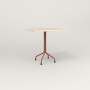 RAD Cafe Table, Rectangular 2 Top Tube Four Point Base in solid ash and coral powder coat.