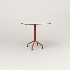 RAD Cafe Table, Rectangular 2 Top Tube Four Point Base in hpl and red powder coat.