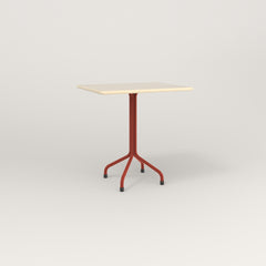RAD Cafe Table, Rectangular 2 Top Tube Four Point Base in solid ash and red powder coat.