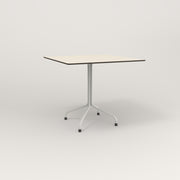 RAD Cafe Table, Rectangular 4 Top Tube Four Point Base in hpl and white powder coat.