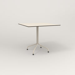 RAD Cafe Table, Rectangular 4 Top Tube Four Point Base in hpl and off-white powder coat.