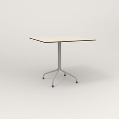 RAD Cafe Table, Rectangular 4 Top Tube Four Point Base in hpl and grey powder coat.