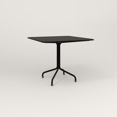 RAD Cafe Table, Rectangular 4 Top Tube Four Point Base in perforated steel and black powder coat.