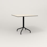 RAD Cafe Table, Rectangular 4 Top Tube Four Point Base in hpl and black powder coat.
