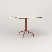 RAD Cafe Table, Rectangular 4 Top Tube Four Point Base in hpl and red powder coat.