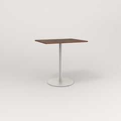 RAD Cafe Table, Rectangular 2 Top Weighted Base in slatted wood and white powder coat.