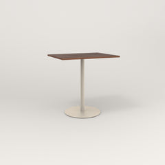RAD Cafe Table, Rectangular 2 Top Weighted Base in slatted wood and off-white powder coat.