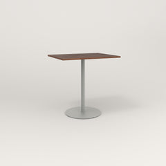 RAD Cafe Table, Rectangular 2 Top Weighted Base in slatted wood and grey powder coat.