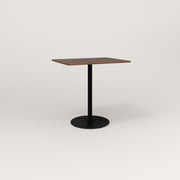RAD Cafe Table, Rectangular 2 Top Weighted Base in slatted wood and black powder coat.