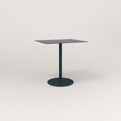 RAD Cafe Table, Rectangular 2 Top Weighted Base in aluminum and navy powder coat.