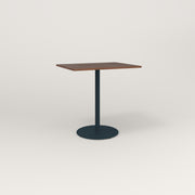 RAD Cafe Table, Rectangular 2 Top Weighted Base in slatted wood and navy powder coat.