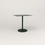 RAD Cafe Table, Rectangular 2 Top Weighted Base in aluminum and fir green powder coat.