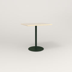 RAD Cafe Table, Rectangular 2 Top Weighted Base in solid ash and fir green powder coat.