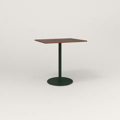 RAD Cafe Table, Rectangular 2 Top Weighted Base in slatted wood and fir green powder coat.