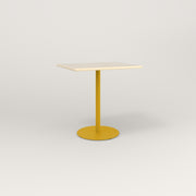 RAD Cafe Table, Rectangular 2 Top Weighted Base in solid ash and yellow powder coat.