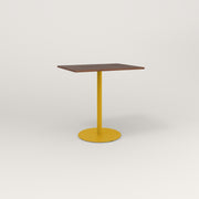 RAD Cafe Table, Rectangular 2 Top Weighted Base in slatted wood and yellow powder coat.
