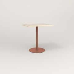 RAD Cafe Table, Rectangular 2 Top Weighted Base in solid ash and coral powder coat.