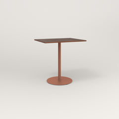 RAD Cafe Table, Rectangular 2 Top Weighted Base in slatted wood and coral powder coat.