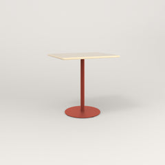 RAD Cafe Table, Rectangular 2 Top Weighted Base in solid ash and red powder coat.