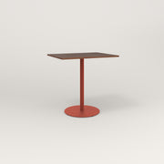 RAD Cafe Table, Rectangular 2 Top Weighted Base in slatted wood and red powder coat.