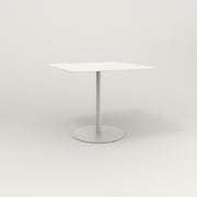 RAD Cafe Table, Rectangular 4 Top Weighted Base in aluminum and white powder coat.