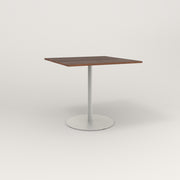 RAD Cafe Table, Rectangular 4 Top Weighted Base in slatted wood and white powder coat.
