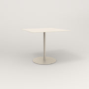RAD Cafe Table, Rectangular 4 Top Weighted Base in aluminum and off-white powder coat.