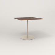 RAD Cafe Table, Rectangular 4 Top Weighted Base in slatted wood and off-white powder coat.