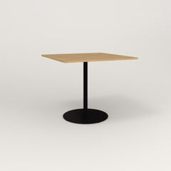 RAD Cafe Table, Rectangular Weighted Base in white oak europly and black powder coat.