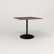 RAD Cafe Table, Rectangular 4 Top Weighted Base in slatted wood and black powder coat.