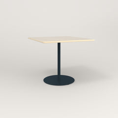 RAD Cafe Table, Rectangular 4 Top Weighted Base in solid ash and navy powder coat.