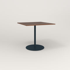 RAD Cafe Table, Rectangular 4 Top Weighted Base in slatted wood and navy powder coat.