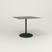 RAD Cafe Table, Rectangular 4 Top Weighted Base in aluminum and fir green powder coat.