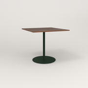 RAD Cafe Table, Rectangular 4 Top Weighted Base in slatted wood and fir green powder coat.