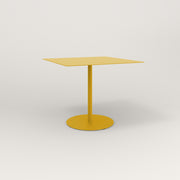 RAD Cafe Table, Rectangular 4 Top Weighted Base in aluminum and yellow powder coat.