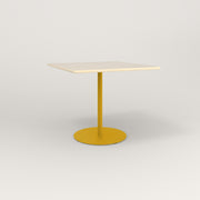 RAD Cafe Table, Rectangular 4 Top Weighted Base in solid ash and yellow powder coat.