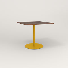 RAD Cafe Table, Rectangular 4 Top Weighted Base in slatted wood and yellow powder coat.