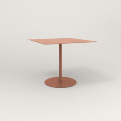 RAD Cafe Table, Rectangular 4 Top Weighted Base in aluminum and coral powder coat.