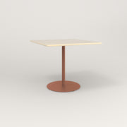RAD Cafe Table, Rectangular 4 Top Weighted Base in solid ash and coral powder coat.