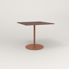 RAD Cafe Table, Rectangular 4 Top Weighted Base in slatted wood and coral powder coat.