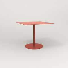 RAD Cafe Table, Rectangular 4 Top Weighted Base in aluminum and red powder coat.