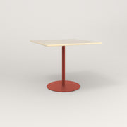 RAD Cafe Table, Rectangular 4 Top Weighted Base in solid ash and red powder coat.