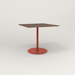 RAD Cafe Table, Rectangular 4 Top Weighted Base in slatted wood and red powder coat.