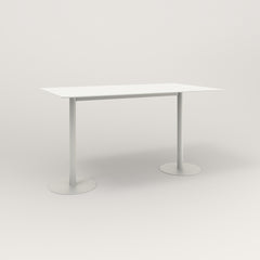RAD Cafe Table, Rectangular Weighted Base T Leg in aluminum and white powder coat.