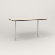 RAD Cafe Table, Rectangular Weighted Base T Leg in hpl and white powder coat.