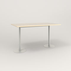 RAD Cafe Table, Rectangular Weighted Base T Leg in solid ash and white powder coat.