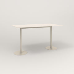 RAD Cafe Table, Rectangular Weighted Base T Leg in aluminum and off-white powder coat.