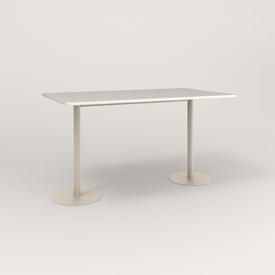 RAD Cafe Table, Rectangular Weighted Base T Leg in acrylic and off-white powder coat.