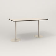 RAD Cafe Table, Rectangular Weighted Base T Leg in hpl and off-white powder coat.