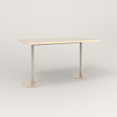 RAD Cafe Table, Rectangular Weighted Base T Leg in solid ash and off-white powder coat.